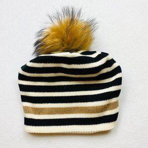 Striped Cashmere Blend Hat w/Fur Pom - OSFM - New